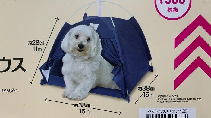 ダイソーのテント型ペットハウスのサイズの写真