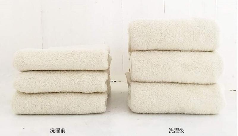 「育てるタオル feel バスタオル」の洗濯前と洗濯後の写真