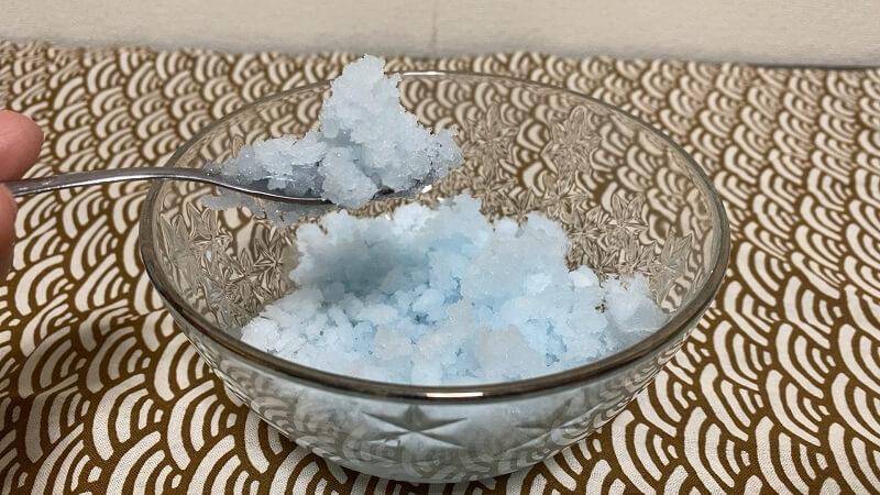 完成したガリガリ君のカキ氷
