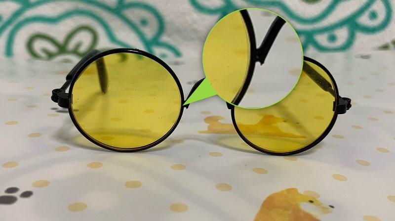 ダイソーのペット用サングラス&メガネ ブリッジが尖っている